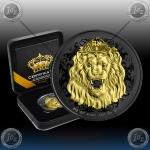 "1oz NIUE 2 Dollars 2020 ""ROARING LION"" Black Rhodium + 24k Gold"