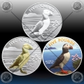 3 x 1oz ALDERNEY 5 POUNDS 2019 (PUFFIN: Normal, Gilded, Color) BU