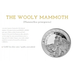 "1oz GHANA 5 Cedis 2019 ""Ice Age - Wooly Mammoth"" BU"
