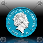 1oz V. BRITANIJA 2 Pounds 2019 (Oriental Border - SPACE BLUE) BU / NEW
