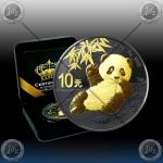 """1oz (30g) KITAJSKA """"Panda"""" 10 Yuan 2020 (Black Rhodium + Gold) BU"""