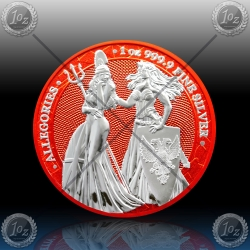 "1oz GERMANIA ""SPACE RED"" 5 Mark 2019 (The Allegories - Britannia & Germania) BU"