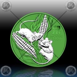 1oz AVSTRALIJA (LUNAR III) 1 Dollar 2020 (Year of  Mouse) SPACE GREEN
