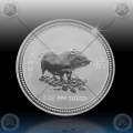 1oz LUNAR I - 2007  Year of Pig