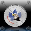 "1oz KANADA $5 Maple Leaf 2014 ""BELOGLAVI OREL"" BARVNI"