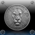 "1oz GHANA 5 Cedis ""LION - LEV"" 2013 Antique Finish"