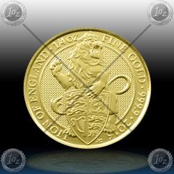 "V. BRITANIJA 25 Pounds (1/4 Oz Gold) 2016 ""LION of ENGLAND"" UNC"